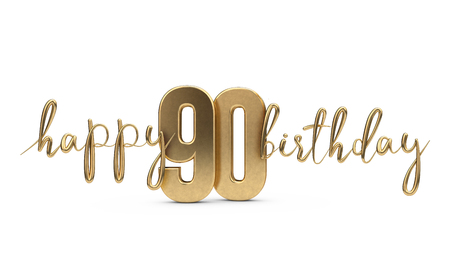 Happy 90th Birthday Gold Greeting Background 3D Rendering Stock Photo