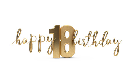 Happy 18th birthday gold greeting background. 3D Rendering Zdjęcie Seryjne