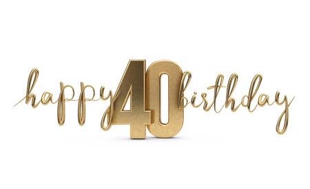 해피 40 생일 골드 인사말 배경입니다. 3D 렌더링 스톡 콘텐츠