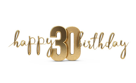 Happy 30th birthday gold greeting background. 3D Rendering Imagens