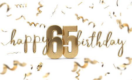 Happy 65th birthday gold greeting background. 3D Rendering 스톡 콘텐츠