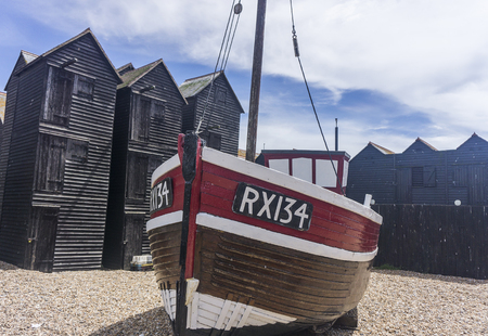 Hastings, UK - JUNE 23rd 2018: Traditional fishing boat on the shore in Hastings, Sussex