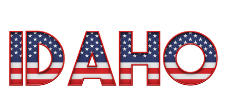 Idaho USA state made from starts and stripes lettering. 3D Rendering