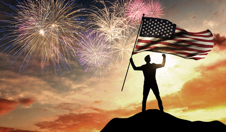American independence day celebration. 3D Rendering Stock Photo