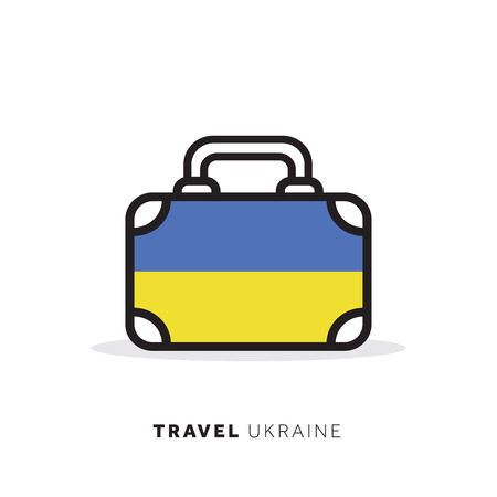 Ukraine travel concept. Suitcase vector icon with national country flag