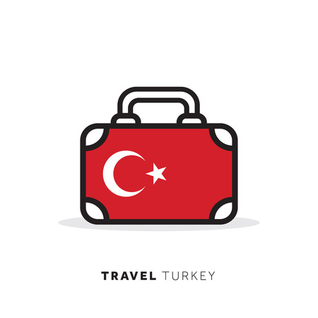 Turkey travel concept. Suitcase vector icon with national country flag