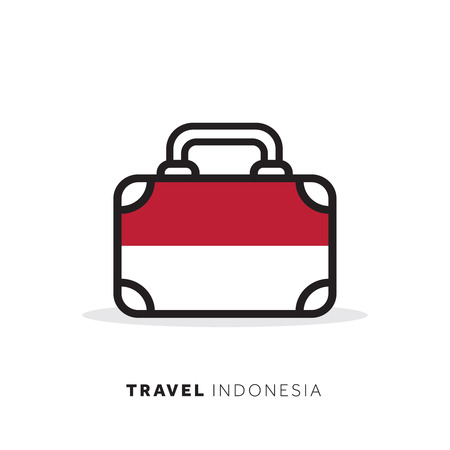 Indonesia travel concept. Suitcase vector icon with national country flag