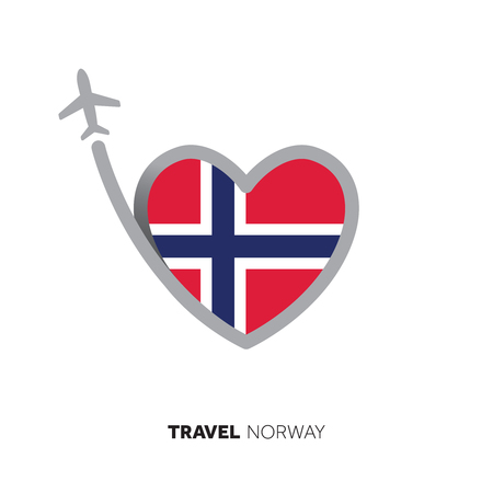 Norway travel concept. Heart shape flag with airplane