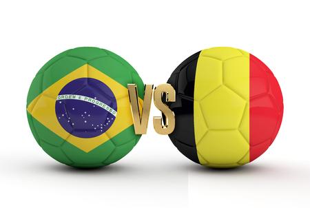 Brazil versus Belgium soccer quarter final match. 3D Rendering Stock Photo