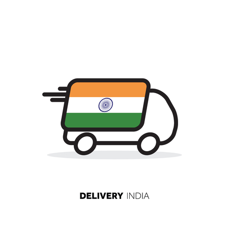 India delivery van. Country logistics concept Illustration