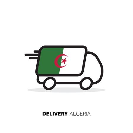 Algeria delivery van. Country logistics concept