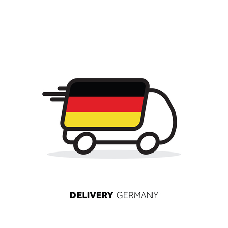 Germany delivery van. Country logistics concept