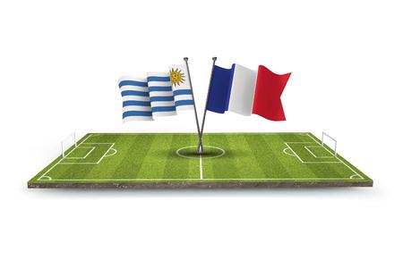 Uruguay Vs France soccer quarter final match. 3D Rendering