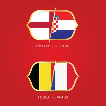 England, Croatia, France, Belgium semi final soccer match.