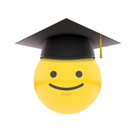 Graduation emoji wearing a traditional graduation cap. Education concept. 3D Rendering