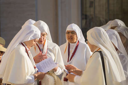 ROME, ITALY - JUNE 20th 2018: A group of nuns outside St Peters Church in VAtican City, Rome