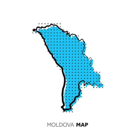 Moldova vector country map. Map outline with dots.