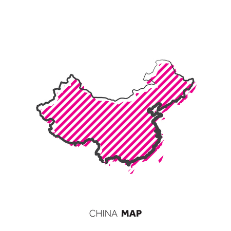 China vector country map. Map outline with dots. Illustration