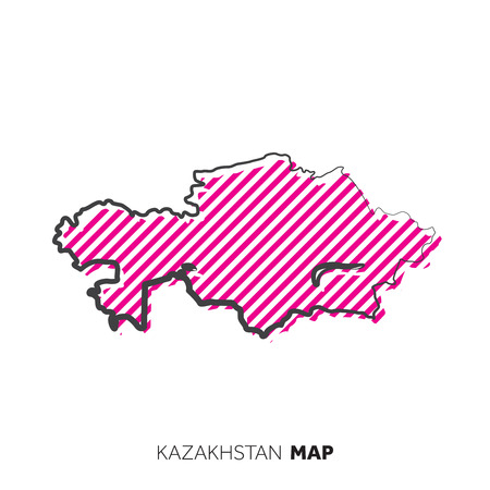 Kazakhstan vector country map. Map outline with dots.
