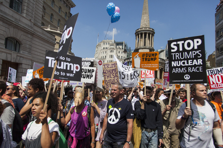 LONDON, UK - July 14th 2018: Large crowds of protesters gather in central London to demonstrate against President Trump's visit to the UK Editorial