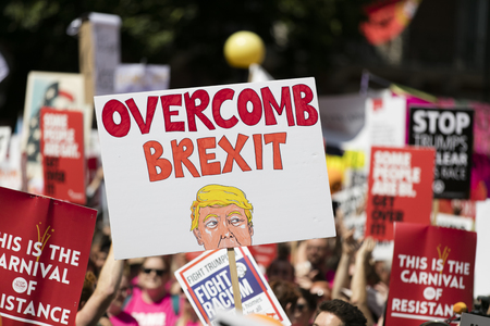 LONDON, UK - July 14th 2018: Large crowds of protesters gather in central London to demonstrate against President Trump's visit to the UK Editöryel