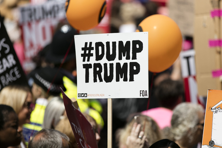 LONDON, UK - July 14th 2018: Large crowds of protesters gather in central London to demonstrate against President Trumps visit to the UK