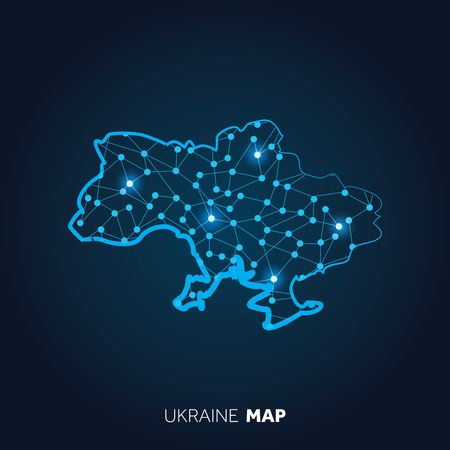 Map of Ukriane made with connected lines and glowing dots.