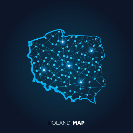 Map of Poland made with connected lines and glowing dots. Vektorgrafik