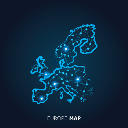 Map of Europe made with connected lines and glowing dots.