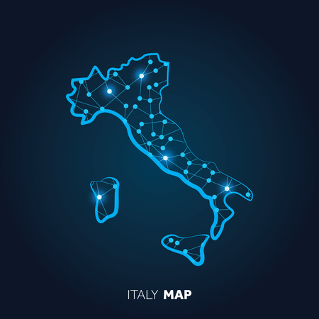 Map of Italy made with connected lines and glowing dots.