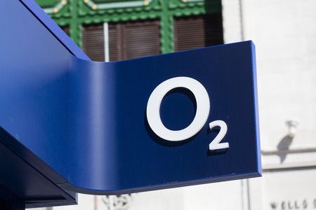LONDON, UK - JULY 31th 2018: O2 telecoms store front on Oxford Street in central London. Editorial