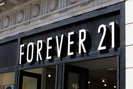 LONDON, UK - JULY 31th 2018: Forever 21 clothing store shop front on Oxford Street in central London.