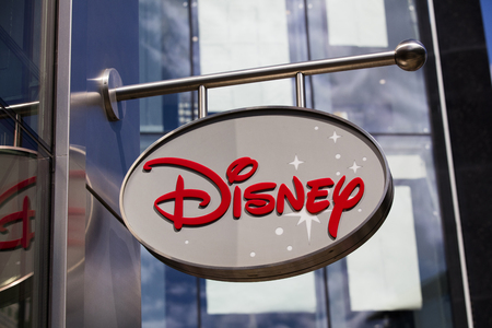 LONDON, UK - JULY 31th 2018: Disney store shop sign in Oxford Street central London