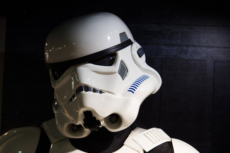 LONDON, UK - JULY 31th 2018: A Stormtrooper figure from the popular Star Wars film franchise on display in a shop in central London Editorial