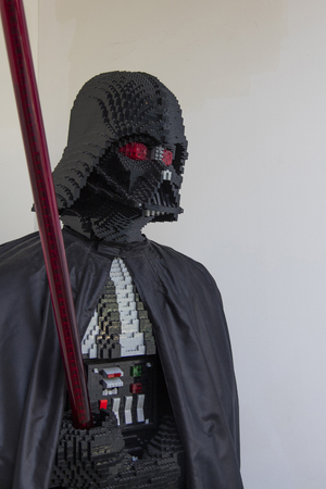 LONDON, UK - JULY 31th 2018: A DArth Vader figure from the popular Star Wars film franchise made from lego on display in a shop in central London