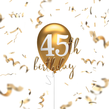 Happy 45th birthday gold balloon greeting background. 3D Rendering Imagens