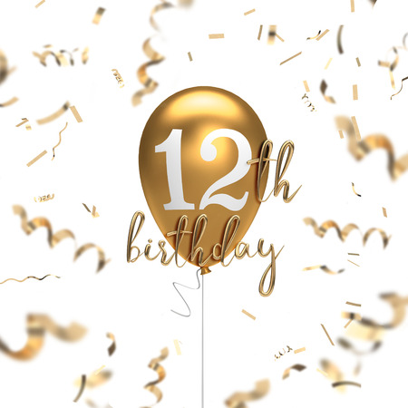 Happy 12th birthday gold balloon greeting background. 3D Rendering