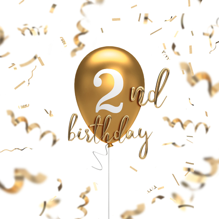 Happy 2nd birthday gold balloon greeting background. 3D Rendering 스톡 콘텐츠