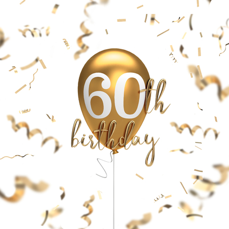 Happy 60th birthday gold balloon greeting background. 3D Rendering 스톡 콘텐츠