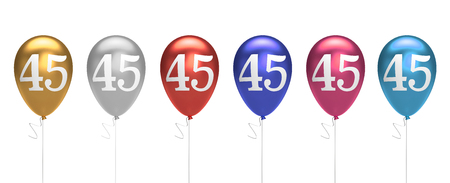 Number 45 birthday balloons collection gold, silver, red, blue, pink. 3D Rendering