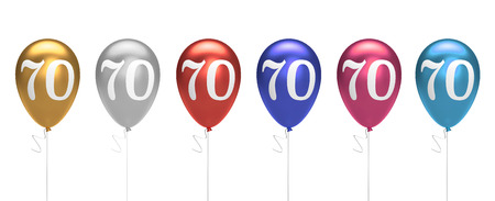 Number 70 birthday balloons collection gold, silver, red, blue, pink. 3D Rendering Stock Photo - 105639697