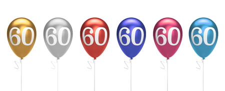 Number 60 birthday balloons collection gold, silver, red, blue, pink. 3D Rendering 스톡 콘텐츠