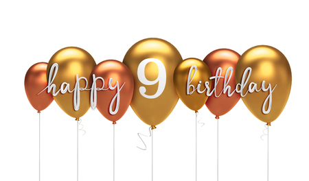 Happy 9th birthday gold balloon greeting background. 3D Rendering