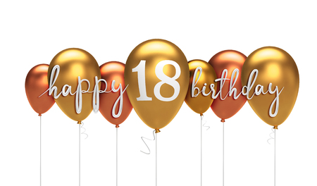 Happy 18th birthday gold balloon greeting background. 3D Rendering
