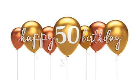 Happy 50th birthday gold balloon greeting background. 3D Rendering