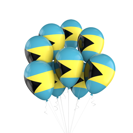 Bahamas flag bunch of balloons on string. 3D Rendering Stock Photo