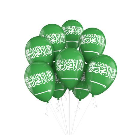 Saudi Arabia flag bunch of balloons on string. 3D Rendering Archivio Fotografico