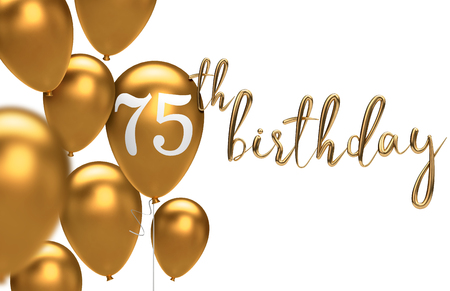 Gold Happy 75th birthday balloon greeting background. 3D Rendering