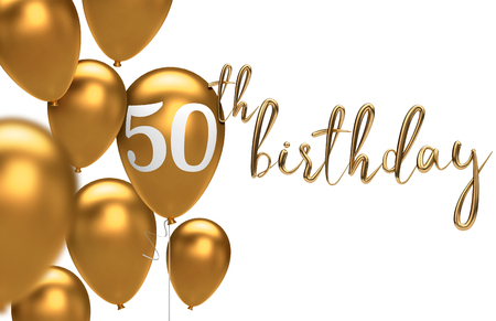 Gold Happy 50th birthday balloon greeting background. 3D Rendering Stock Photo