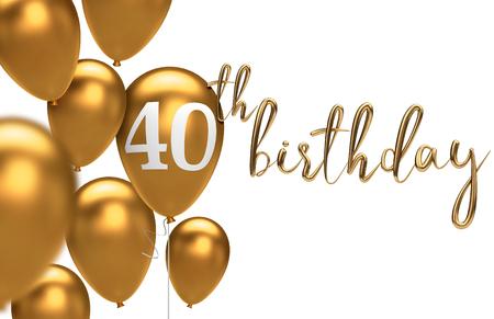 골드 해피 40 번째 생일 풍선 인사말 배경입니다. 3D 렌더링